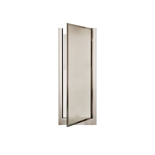 JASMIN DI II 29.75-inch 1-Piece Alcove Shower in White, Door included in Privacy Glass and Chrome