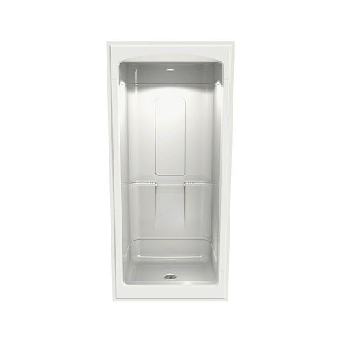 PRIMO 39-inch 1-Piece Alcove Shower with Roof Cap, Center drain, in White