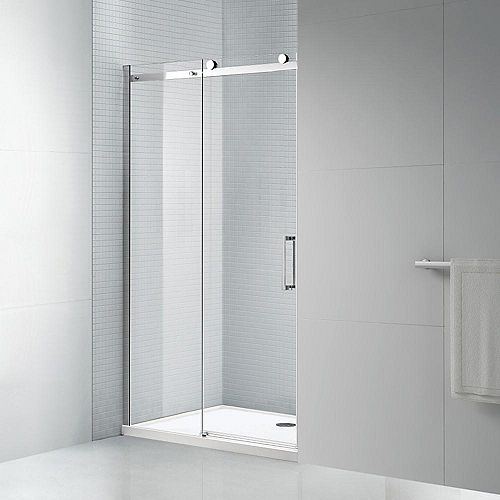 AmLuxx Tidy 48 in. x 78 in. Frameless Sliding Shower Door in Chrome with 8 mm Clear Glass