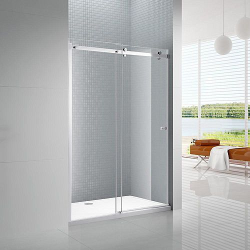 AmLuxx Primo 60 in. x 72 in. Frameless Sliding Shower Door in Chrome with 6 mm Clear Glass