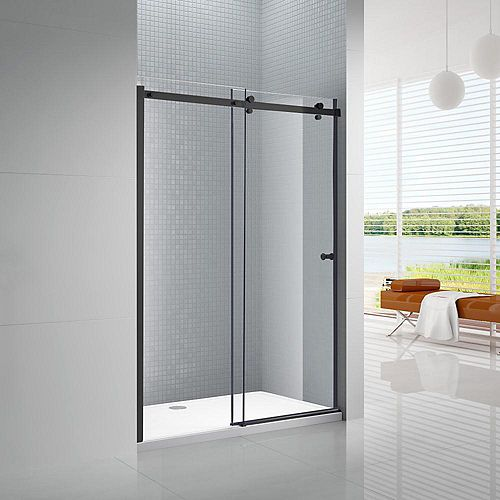 Primo 48 in. x 72 in. Frameless Sliding Shower Door in Black with 6 mm Clear Glass