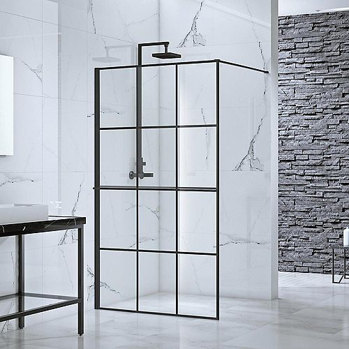 Toure 39 in. x 77 in. Frameless Fixed Shower Door Screen in Black without Handle
