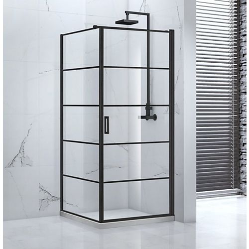 Vaneau 36 in. x 77 in. Framed Corner Pivot Shower Enclosure in Black