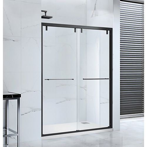 Lido 60 in. x 76 in. Semi-Frameless Bypass Sliding Shower Door in Black