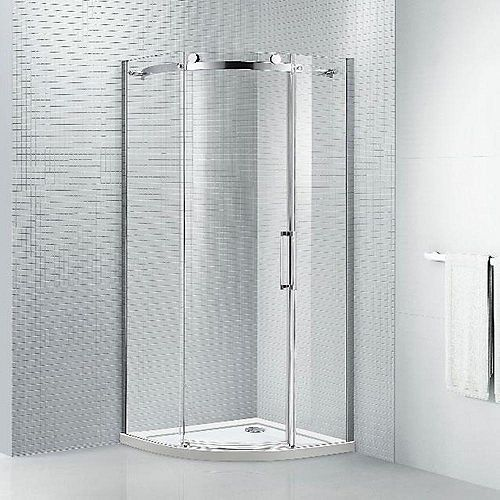 Neo 38 in. x 78 in. Frameless Neo-Angle Sliding Shower Door in Chrome with 8 mm Clear Glass