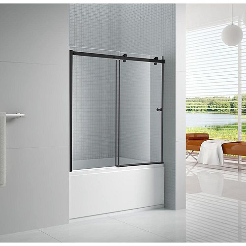 AmLuxx Primo 60 in. x 57.50 in. Frameless Sliding Bathtub Door in Black