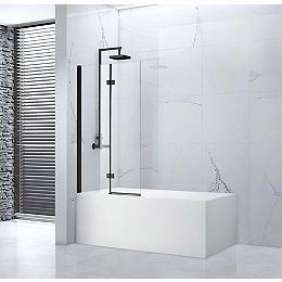 Tidy 55 po x 39 po Porte de baignoire bi-pliage sans cadre, fini noir