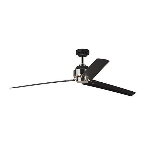 Generation Brands Arcade 68 in. Indoor Midnight Black with Polished Nickel Ceiling Fan with Remote