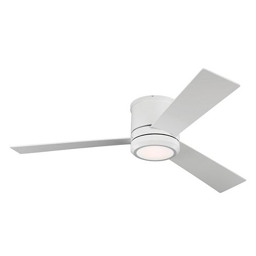 Clarity Max 56 on. LED Indoor/Outdoor Matte White Ceiling Fan with Light Kit