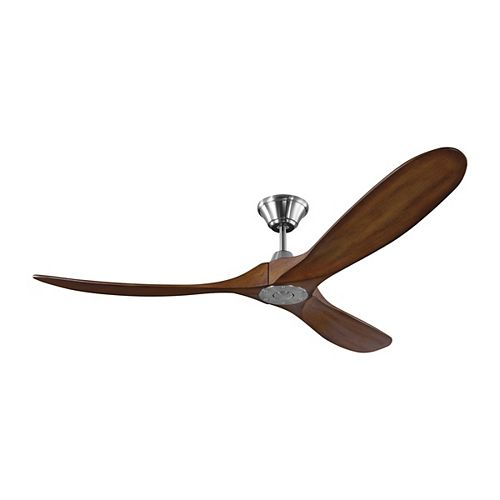 Monte Carlo Fans Maverick 60 in. Indoor/Outdoor Brushed Steel Ceiling Fan with Koa Blades with Remote Control