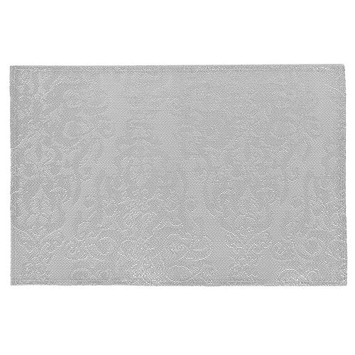 IH Casa Decor Baroque Vinyl Placemat (Silver)- 12 X 18 In. (Set Of 12)