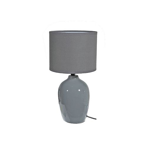 Solace Ceramic Table Lamp With Shade (Gray) - 8 X 15.5 In. Spherical