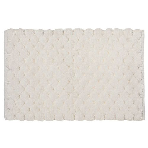 Handwoven Pompom Bath Mat (White) (20 X 32)
