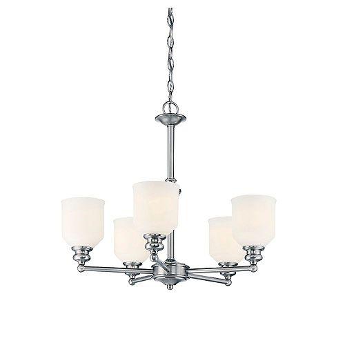 Filament Design Lustre à cinq ampoules avec verre gravé opale blanche et Finition Chrome poli