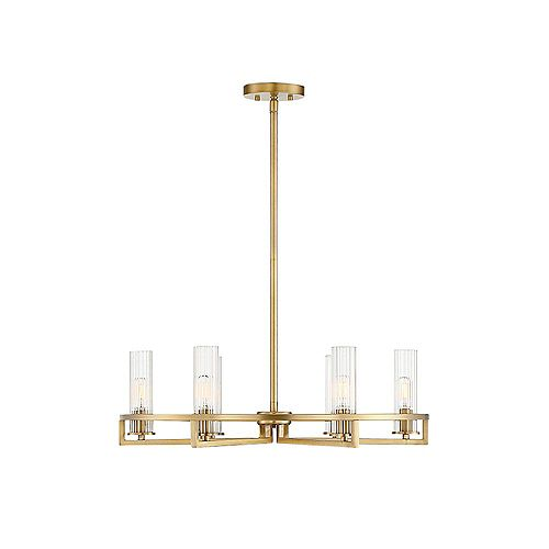 Filament Design 6-Light Warm Brass Chandelier with Clear Ribbed Glass
