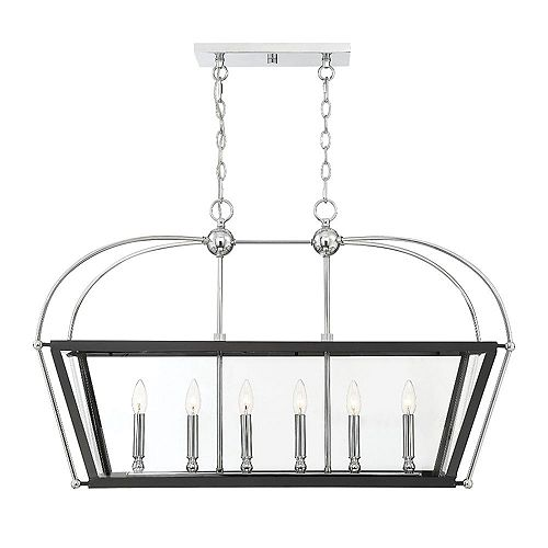 Filament Design 6-Light Matte Black with Polished Chrome Accents Linear Chandelier with Clear Glass- 36 inch