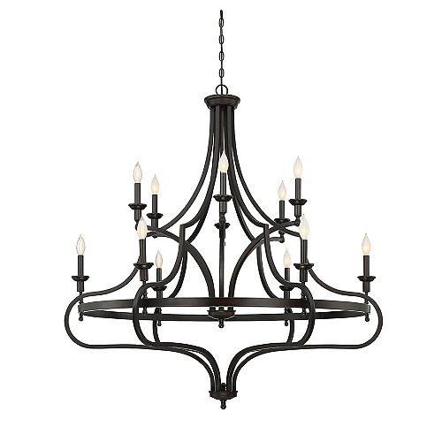 Lustre à douze ampoules avec Fini bronze anglais-48 pouces