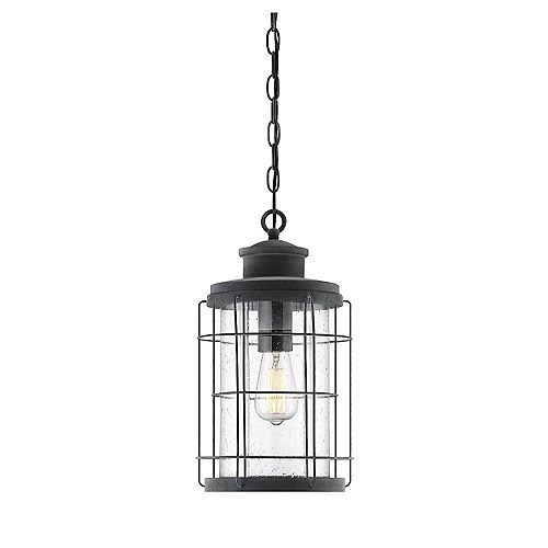 Filament Design 1-Light Oxidized Black Outdoor Pendant with Seeded Glass