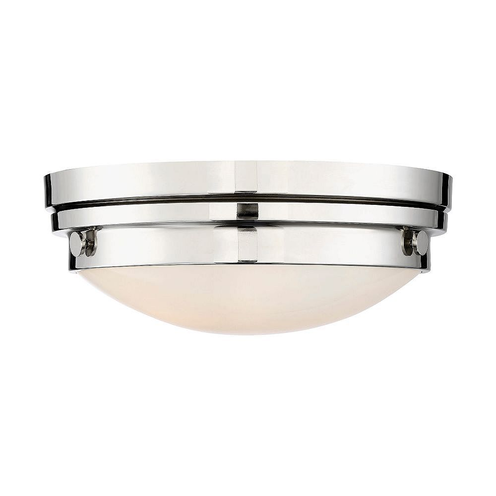 Filament Design 2-Light Polished Nickel Flush Mount with White Glass- 13.25 inch