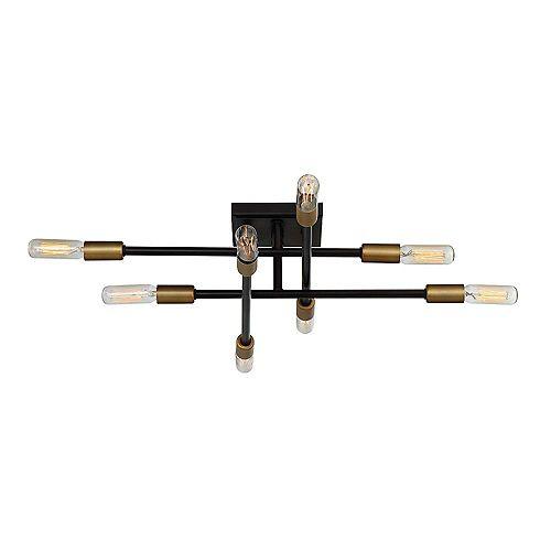 8-Light Bronze with Brass Accents Semi-Flush