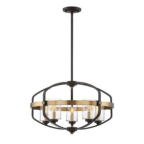 Filament Design Pendentif à cinq ampoules avec verre transparent et Fini bronze anglais
