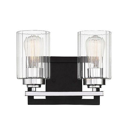 Filament Design Lumière fixée au mur à deux ampoules avec verre côtelé transparent et Fini noir