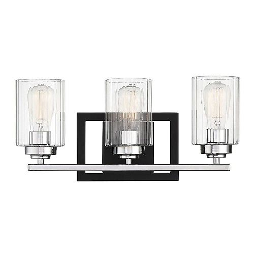 Filament Design 3-Light Matte Black with Polished Chrome Accents Bath Light with Clear Ribbed Glass