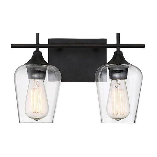 Filament Design Lumière fixée au mur à deux ampoules avec Fini bronze anglais-13.75 pouces