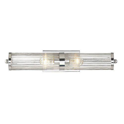Filament Design Lumière fixée au mur à deux ampoules avec Finition Chrome poli-23.75 pouces