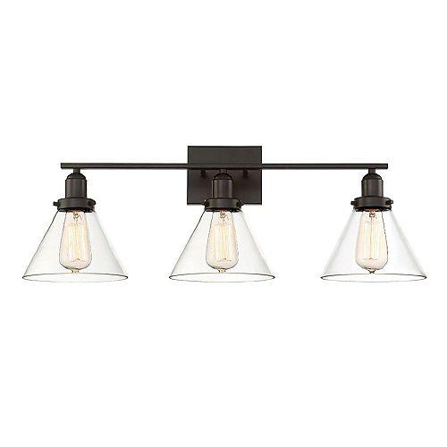 Filament Design Lumière fixée au mur à trois ampoules avec verre transparent et Fini bronze anglais