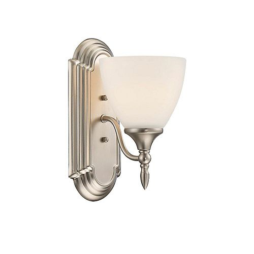 Filament Design 1-Light Satin Nickel Sconce with White Frosted Glass