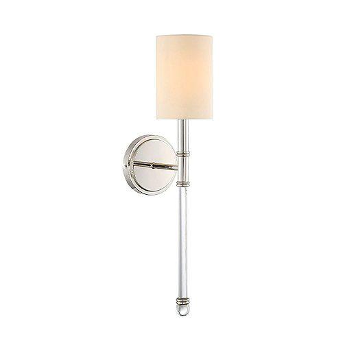 Lumière fixée au mur à une ampoule avec Finition nickel poli - 21 pouces