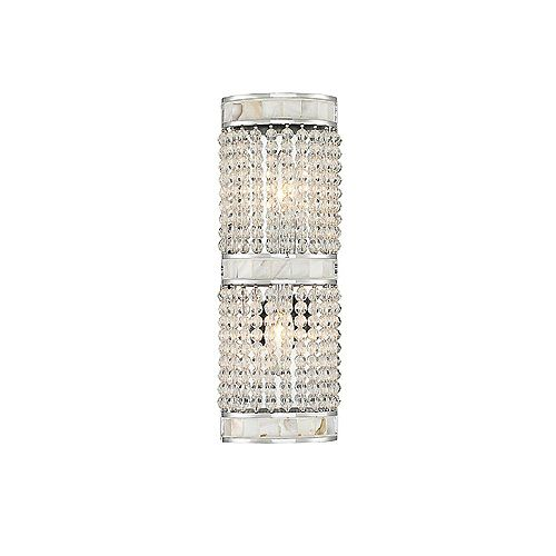 Lumière fixée au mur à deux ampoules avec Finition Chrome poli-14.5 pouces