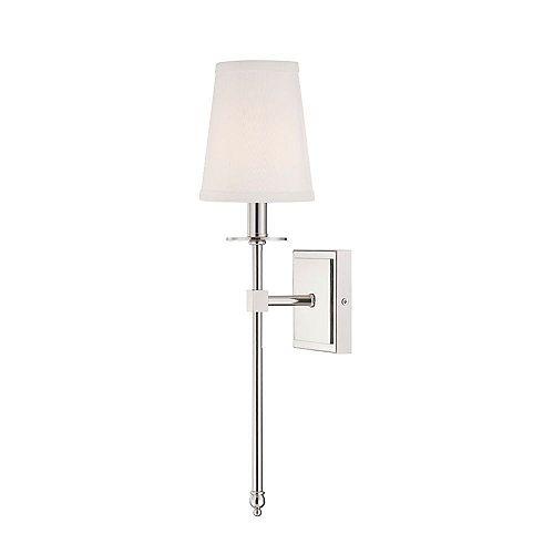 Lumière fixée au mur à une ampoule avec Finition nickel poli - 20 pouces