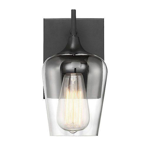 Lumière fixée au mur à une ampoule avec Fini bronze anglais avec verre transparent - 9.5 pouces