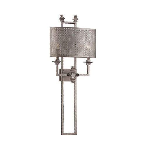 Lumière fixée au mur à deux ampoules avec Finition en acier vieilli