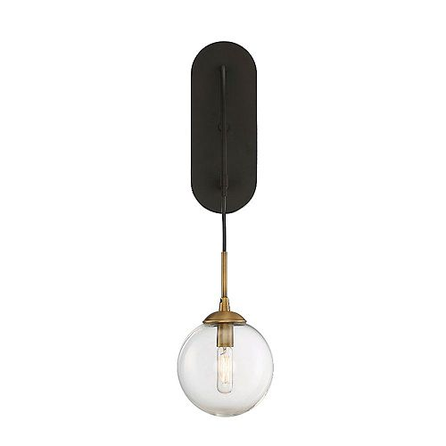 Lumière fixée au mur à une ampoule avec Fini bronze anglais-5.5 pouces