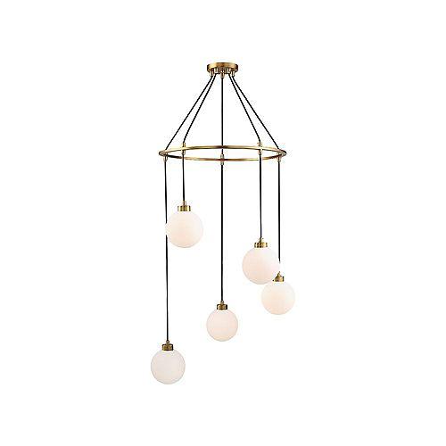 Filament Design Pendentif à cinq ampoules avec verre blanc et Fini laiton