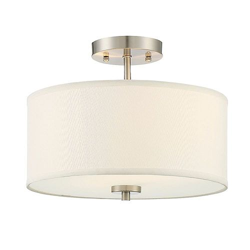 Filament Design 2-Light Brushed Nickel Semi-Flush Mount with White Fabric Shade