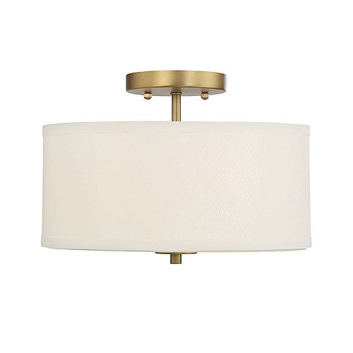 2-Light Natural Brass Semi-Flush with White Fabric Shade