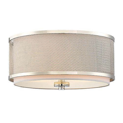 Filament Design 3-Light Polished Nickel Flush Mount- 14.75 inch