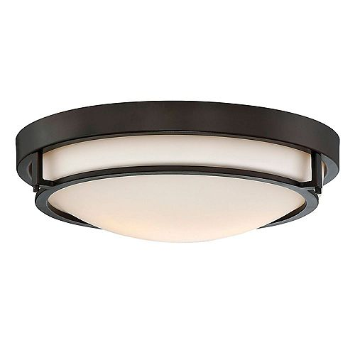2-Light Oil Rubbed Bronze Flush Mount with White Glass
