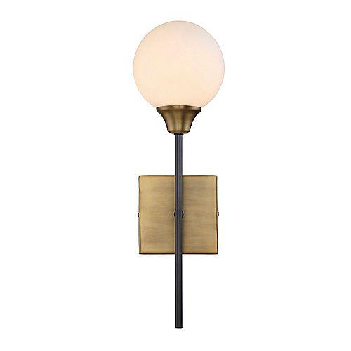 Lumière fixée au mur à une ampoule avec Finition bronze - 19.25 pouces