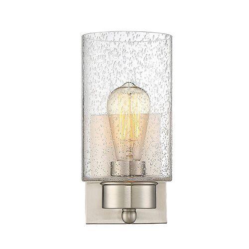 Lumière fixée au mur à une ampoule avec verre transparent et Fini nickel brossé