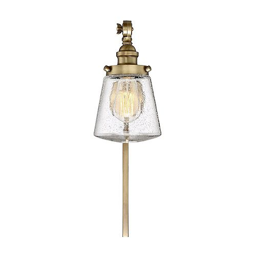 1-Light Natural Brass Wall Sconce - 6 inch