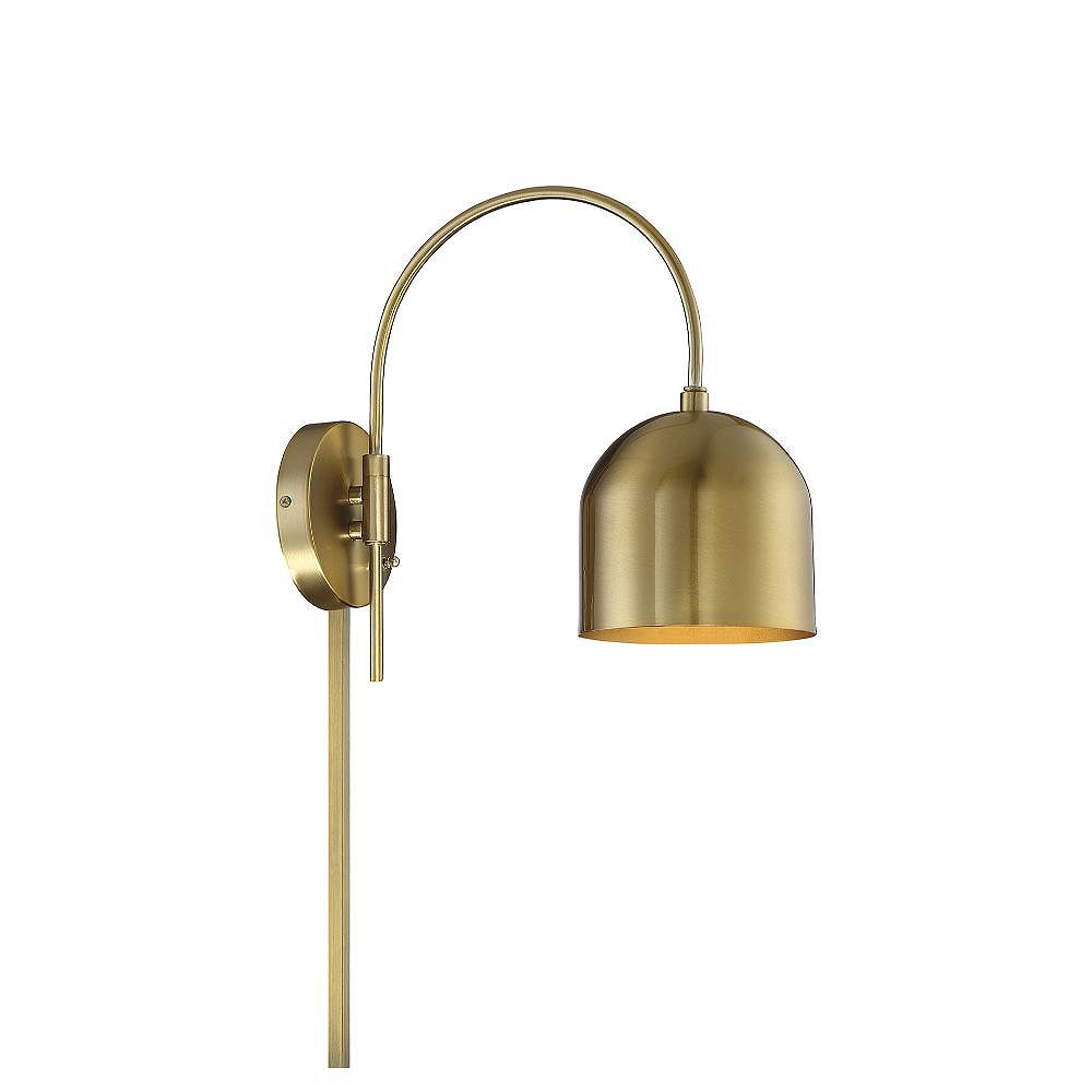 30-Light Natural Brass Adjustable Wall Sconce - 30 inch