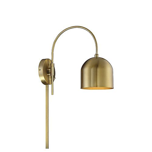 1-Light Natural Brass Adjustable Wall Sconce - 6 inch