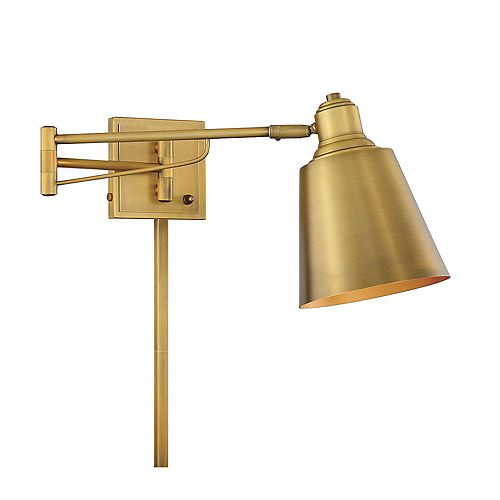 1-Light Natural Brass Adjustable Wall Sconce- 6.5 inch