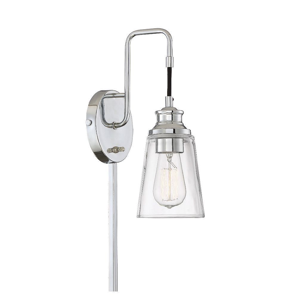 Filament Design 1-Light Chrome Wall Sconce with Clear Glass - 12.5 inch