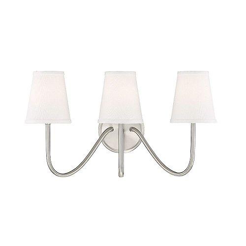 Lumière fixée au mur à trois ampoules avec Fini nickel brossé
